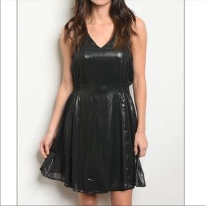 Metallic Black Shiny Dress